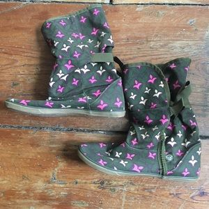 Anthropologie canvas boho slouch boots